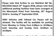 Temporary Additional Parking at Movenpick Hotel