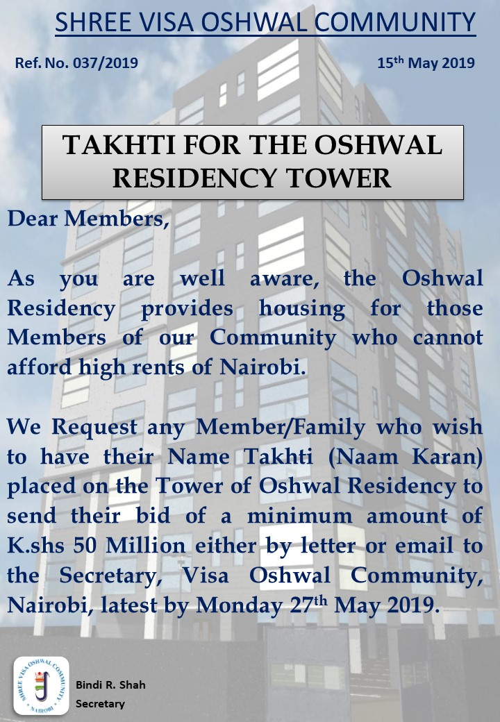 Takhti For The Oshwal Residency Tower