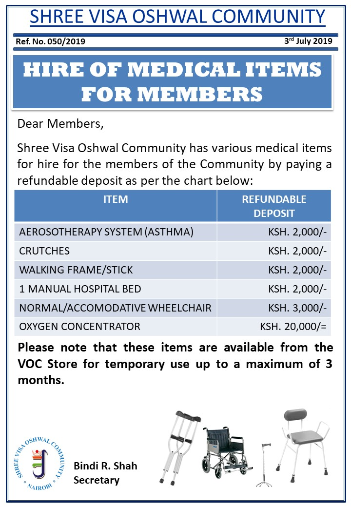 Hire of Medical Items