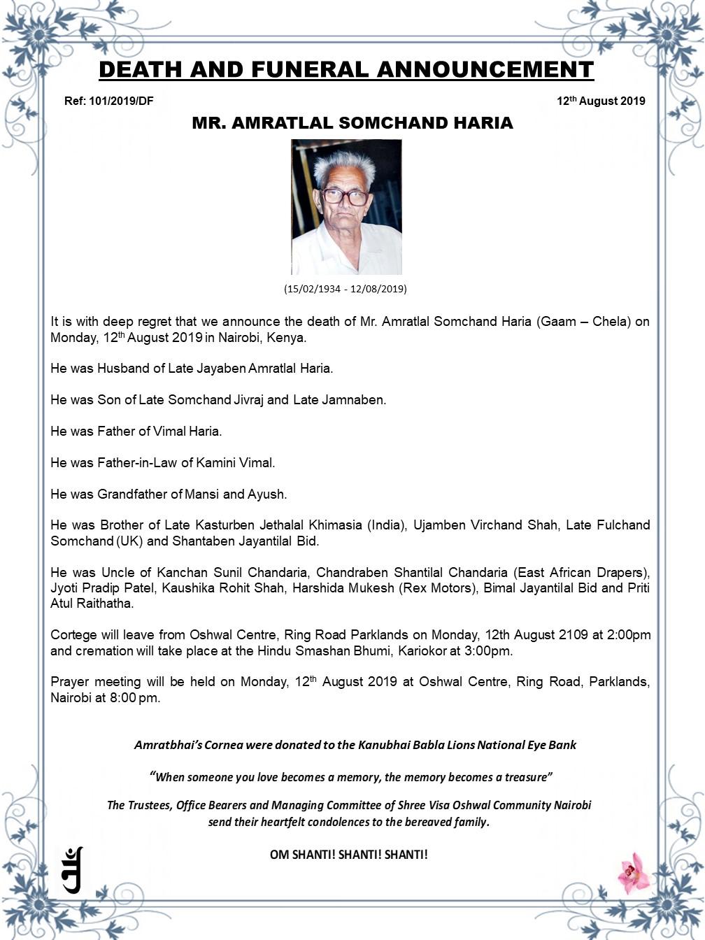 Mr. Amratlal Somchand Haria
